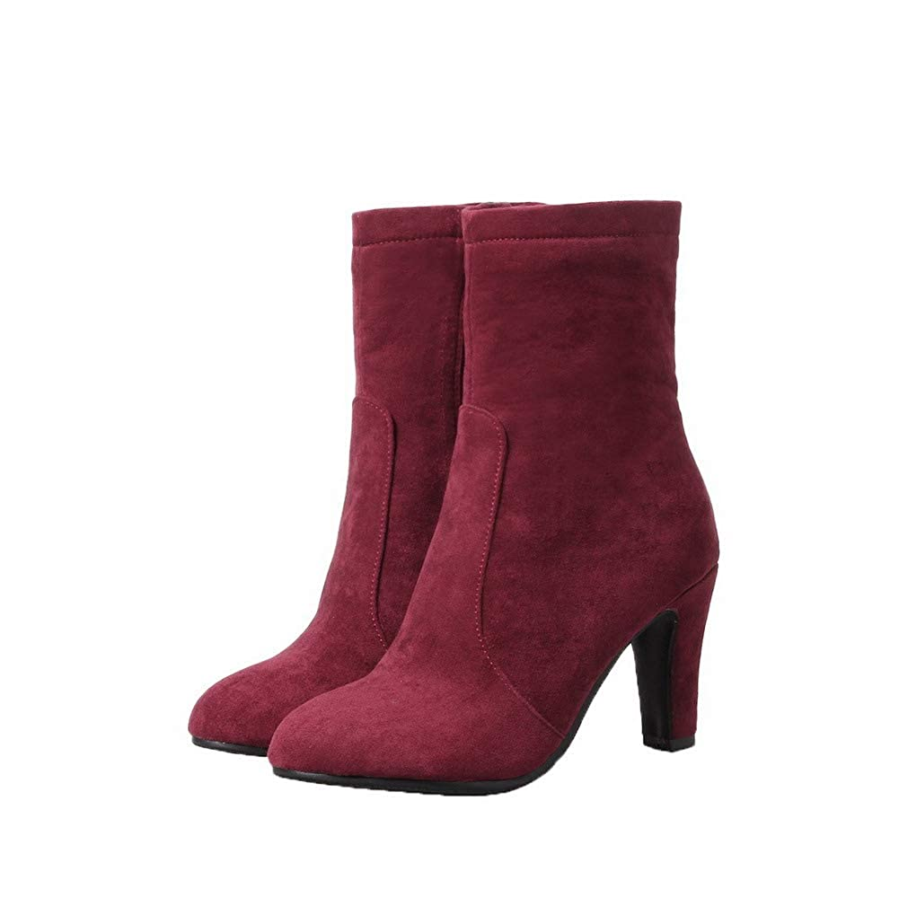 AllhqFashion Womens Frosted Low-Top Solid Zipper High-Heels Boots FBUXD133578