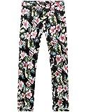 SSLR Men's Hibiscus Printed Cotton Fitted Casual Hawaiian Pants (W32 x L32, Black(5003-1))