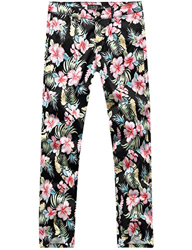 SSLR Men's Hibiscus Printed Cotton Fitted Casual Hawaiian Pants (W36 x L32, Black(5003-1))
