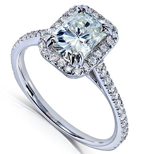 Radiant-cut Moissanite & Diamond Engagement Ring 1 2/5 Carat (ctw) in 14k White Gold