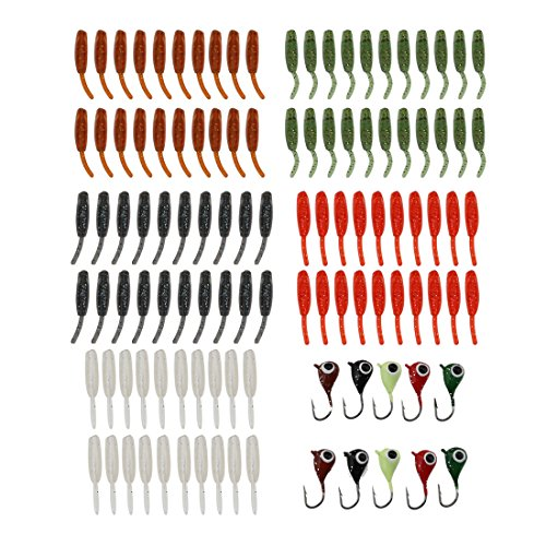 A-SZCXTOP 100 pcs Soft Plastic Worm Fishing Baits 10 pcs Lead Jig Head Mini Lures Ice Jigs with Small Tackle Box