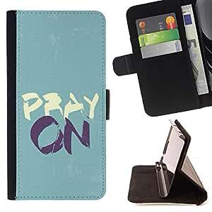 BullDog Case - FOR/Apple Iphone 5C / - / PRAY ON /- Monedero de cuero de la PU Llevar cubierta de la caja con el ID Credit Card Slots Flip funda de cuer
