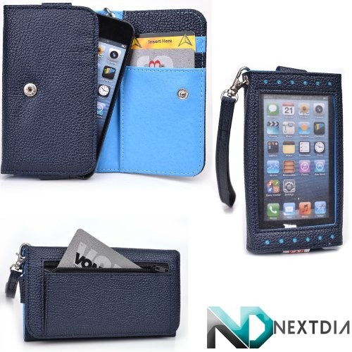 Smartphone Wristlet Wallet fits Nokia Lumia 800c with Exposed Screen to View Alerts |Navy Blue and Electric Blue + NextDia Velcro Strap