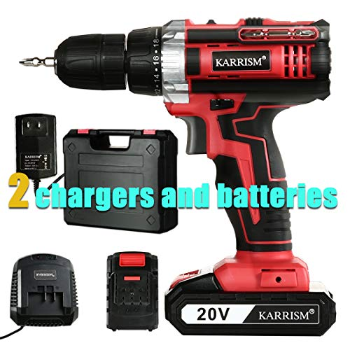 KARRISM Cordless drill driver 20V MAX LIthium lon,18+1Torque Setting,2-Variable Speed,309 In-lbs Torque,1/2″ Metal Keyless Chuck