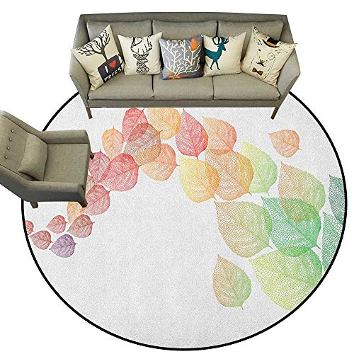 Leaves,Custom Floor mats Gradient Colored Autumn Leaves Flying in The Wind Cold Formation of Seasons Art D54 Multi-USE Floor MAT ()