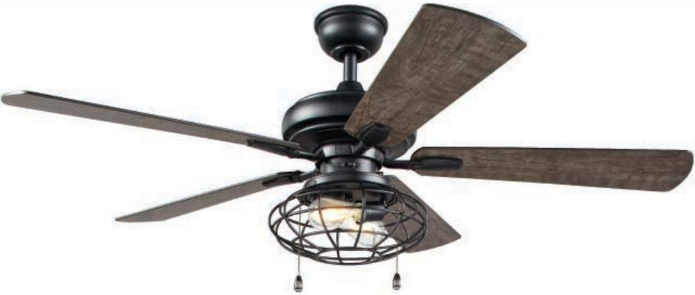 Home Decorators Collection Ellard 52 in. LED Matte Black Indoor Ceiling Fan with Lights