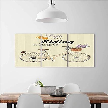 SOCOMIMI 3 Piece Wall Art Painting Frameless Boho Pop Style Bike An Aesthetic Bouquet Basket
