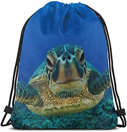カメの海の生活海水中水巾着バックパックジムダンスバッグショルダートラベルバッグ誕生日ギフト36 x 43cm