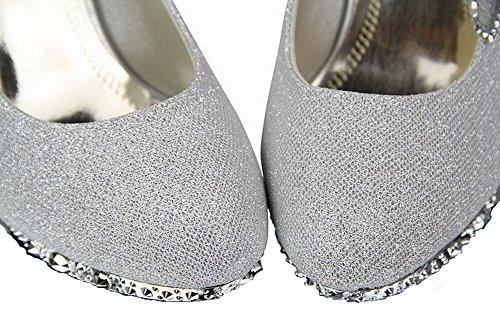 Mit Blumen Pailletten Odomolor Offene Schuhe Form Damen Solide Konische Ferse Silber Zehe Pumps wTwgxvqpn