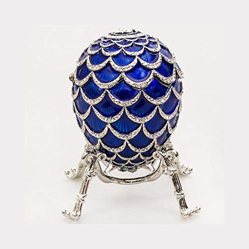 - Russian Style Egg Pine Cone with The Clock (Blue), 3.62