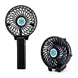 Mini USB Fan, SUPVIN Foldable & Handheld Design Rechargeable Battery Adjustable 3 Speeds, Electric Personal Fans with 18650 Battery for Camping,Tent ,Office,etc.