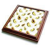 3dRose trv_263479_1 Papaya, Avocados, Cantaloupe Pattern Trivet with Tile, 8 by 8'',