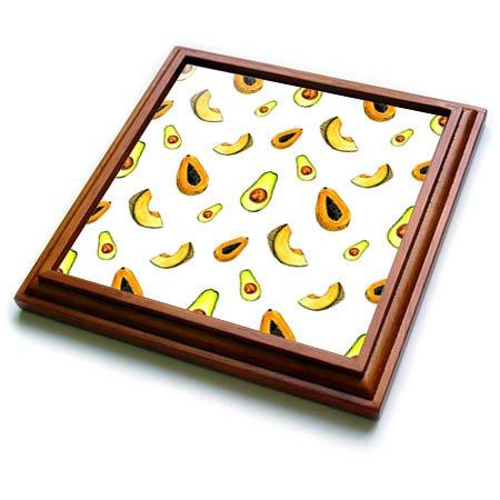 3dRose trv_263479_1 Papaya, Avocados, Cantaloupe Pattern Trivet with Tile, 8 by 8