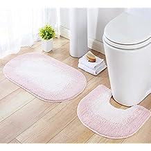 Ukeler Non-slip Bathroom Set Washable U-shaped Toilet Floor Mat and Bathroom Carpet Pad Shower Bath Rugs Pink Toilet Rug Set