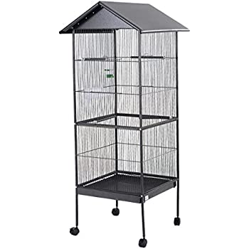 "Giantex 61"" Large Parrot Bird Cage Play Top Pet Supplies w/Perch Stand Two Doors Iron"