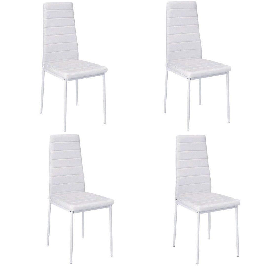 Esstisch Stuhl Set Essgruppe Tischgruppe Esstischgruppe Sitzgruppe Esszimmergarnitur  Weiss Glas Metall Esstisch (Weiß, Nur 4 Stühle)