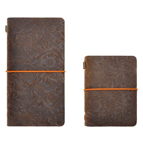 Refillable Travelers Notebook Vintage Flower Embossed Leather Journal Set