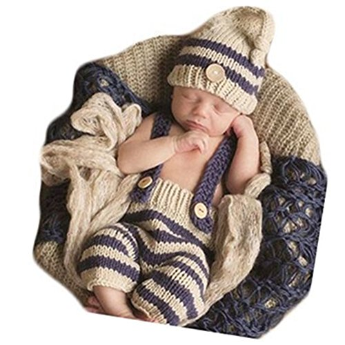 Newborn Baby Boy Girl Costume Photography Props Photo Shoot Outfits Crochet Knit Striped Hat Shorts Photo Props (Style Seven)
