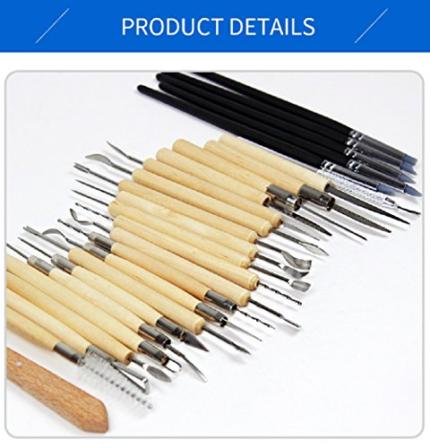 Mega Shop Polymer Clay Sculpture Tools 22 Pcs Stainless Steel Wooden Handle Diy Soft Molding Craft Oven Baking Clay Project Malleable Plasticine