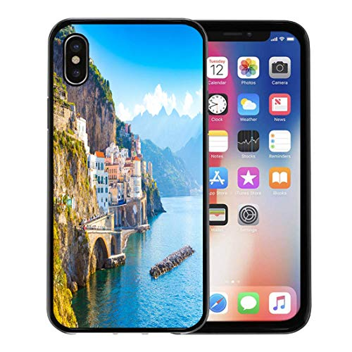 Semtomn Phone Case for Apple iPhone Xs case,Colorful Sorrento Morning View of Amalfi Cityscape on Coast Line Mediterranean Sea Italy Positano for iPhone X Case,Rubber Border Protective -