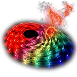 LED Lights Strip Sync To Music, Multi Color Flexible and Pliable Music LED Rope Lights with Stickable Back, 16.4ft/5m 300 LED 12V Waterproof Strip Lighting with RF Wireless Remote Controller