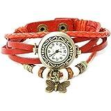 Vintage Design Leather Strap Butterfly Pendant Women's Bracelet Watch - Orange (SWH2F001ORN)