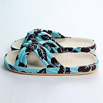 CWJDTXD Zapatillas de verano Zapatillas de lino casa suelo de madera interior antideslizante silencio silencioso transpirable