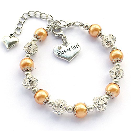 DOLON Gold Simulated Pearl Flower Bridal Charm Bracelet