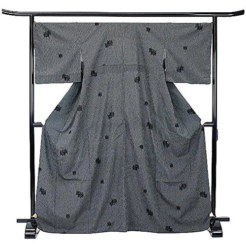 ブラウザ製品シーフード塩沢紬 正絹 着物 きもの 糸車 黒 和装 リサイクル【中古】 70175797