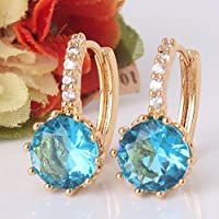 phitak shop 24k yellow gold filled lady charm ocean color aquamarine hoop earring