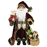 """Windy Hill Collection 16"""" Inch Standing Burgundy Toy Bag and Bell Santa Claus Christmas Figurine Figure Decoration 16713"""