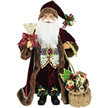 """16"""" Inch Standing Burgundy Toy Bag and Bell Santa Claus Christmas Figurine Figure Decoration 16713"""