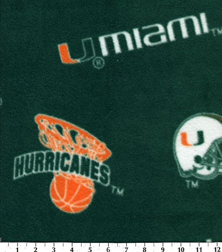 College University of Miami Hurricanes 035 Print Fleece Fabric By the Yard ()