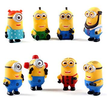 Set of 8pcs Mini Despicable Me Movie Figures Minions Cake toppers 3D