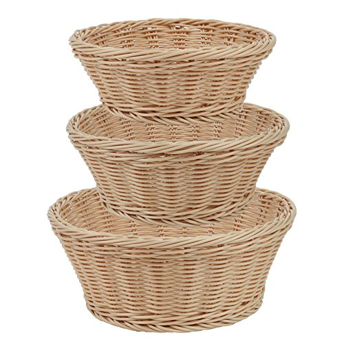 Home-X 3 Piece Wicker Look Nestable Round Basket Set, Microwavable, and Dishwasher Safe (Round Shape) (Wholesale Wicker Baskets)