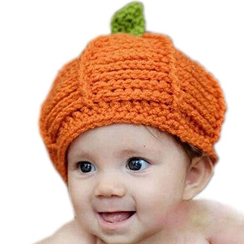 Crochet Pumpkin Hat - Kafeimali Newborn Unisex Baby Boys Girls Beanie Wool Pumpkin Knit Crochet Hats for Halloween Caps
