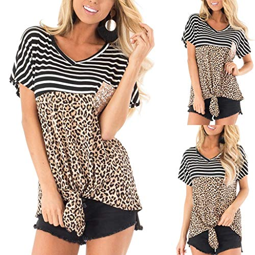 Women's Casual Leopard Striped Print Sequin Pocket Color Block Tie Knot Blouse Top Brown