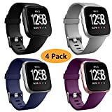 Health & Personal Care : Neitooh 4 Packs Bands Compatible with Fitbit Versa/Versa 2/Fitbit Versa Lite for Women and Men, Classic Soft Silicone Sport Strap Replacement Wristband for Fitbit Versa Smart Watch