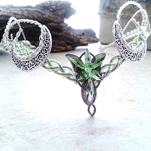 Green Crescent Moon Evenstar Arwen Circlet Headdress by Thyme2dream