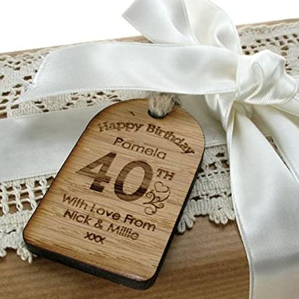 40th Birthday Gifts For Women Birthday Gift Tag Personalised