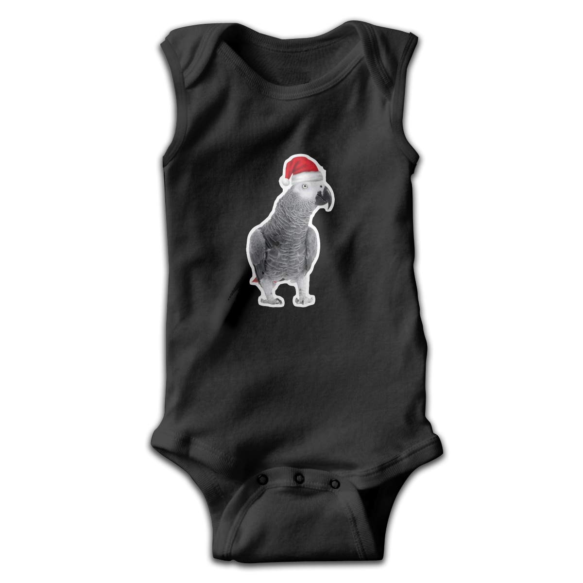 Parrots with Christmas Hats Newborn Crawling Suit Sleeveless Romper Bodysuit Onesies Jumpsuit Black