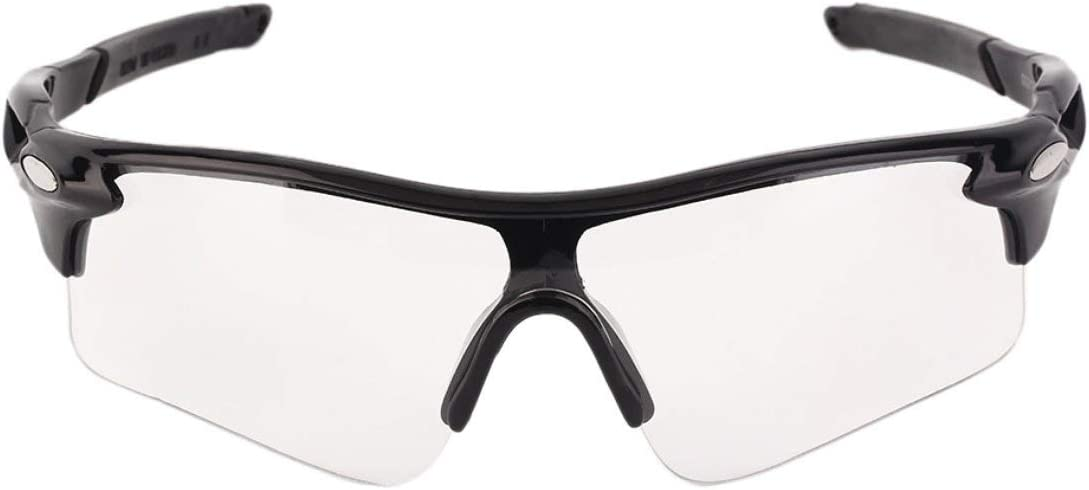 sunnyflowe Hombres de Moda Mujeres Ciclismo Gafas de Montar en Bicicleta Gafas Gafas de Deporte al Aire Libre Gafas Bicicleta Ciclismo Proteger los Ojos Gafas - Blanco y Negro Transparente