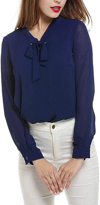 Lamore Blusa de Gasa Elegante para Mujer, Blusa de Camisa, Blusa de Manga Larga con Lazo, Cuello en V, Monocromo Azul XL: Amazon.es: Ropa y accesorios