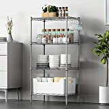 VOONEEN 4 Shelf Shelving Units, All-Metal Multipurpose Modern Storage Rack Suitable For Kitchen Home Office Living Room, Wire Organisation Rack with 4 Side Hooks Adjustable Levelling Feet,45*30*90CM