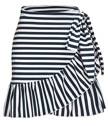 - ChinFun Women's Ruffle Sarongs Beach Wrap Swimwear Bikini Tankini Cover Up Swim Skirts Swimdress Navy Stripe L-2XL