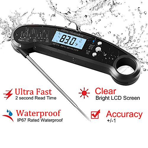 Smileto Instant Read Waterproof Digital Thermometer With LCD Calibration & Backlight Function For Kitchen Use, BBQ, Baby Food by Smileto (Image #2)