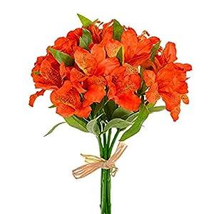 MARJON Flowers Artificial Alstroemeria Bundle Orange 7