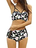Lalagen Women's Strappy Hollow Out Floral Swimwear High Waist Bikini Sets Black L