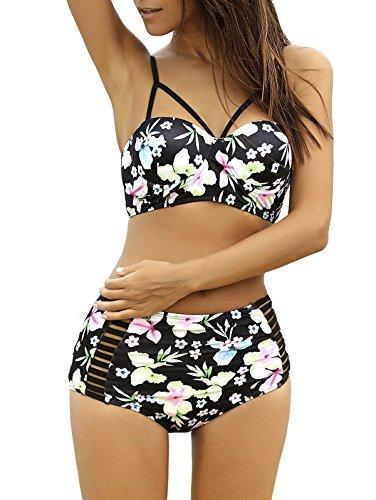 Lalagen Women's Strappy Hollow Out Floral Swimwear High Waist Bikini Sets Black L (Plus Size Bikinis)