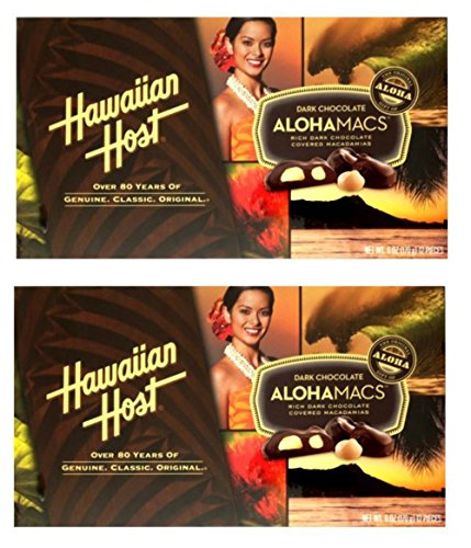 Hawaiian Host Alohamacs Dark Chocolate Covered Macadamia Nuts (6 oz Boxes) (2 Boxes)